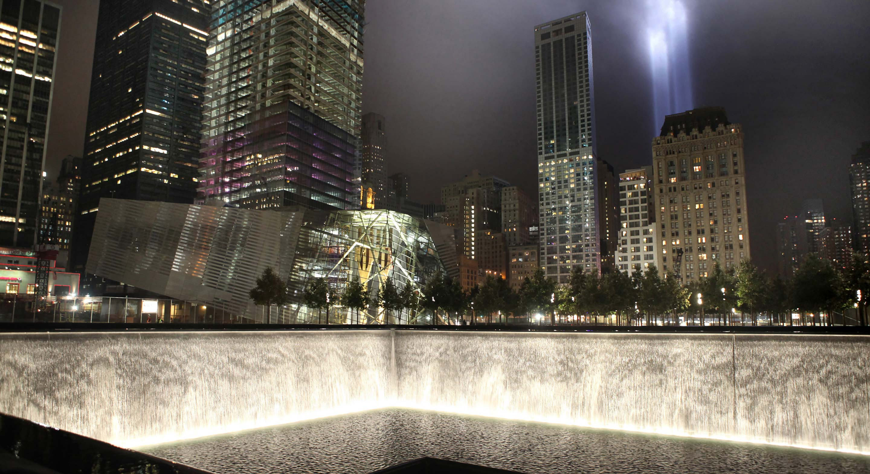 Reflecting Absense, September 11 Memorial at Night